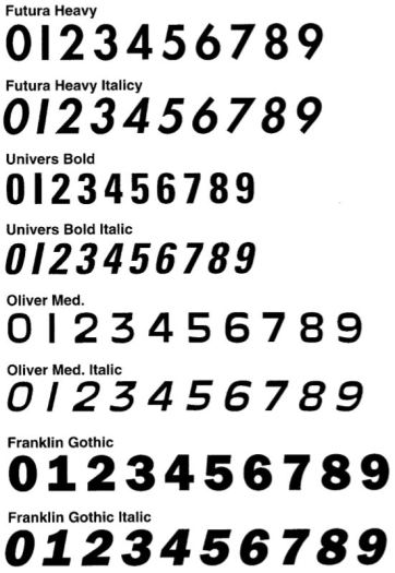 The eight fonts available to the riders